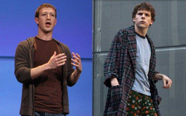 Mark Zuckerberg (l) is played by Jesse Eisenberg (r) in The Social Network